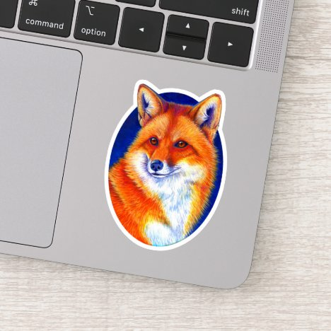 Colorful Red Fox Vinyl Sticker