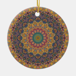 Colorful Red, Gold, & Blue Mandala Kaleidoscope Double-Sided Ceramic Round Christmas Ornament