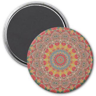 Colorful Red, Gold, & Blue Mandala Kaleidoscope Magnet