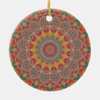 Colorful Red, Gold, & Light Blue Mandala Double-Sided Ceramic Round Christmas Ornament