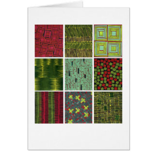 Colorful red green abstract patterns card