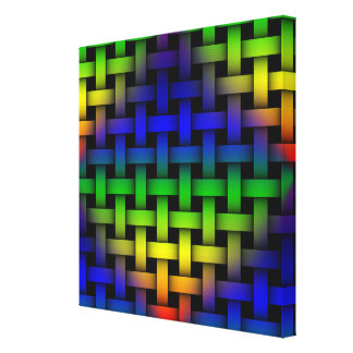 Colorful Red Green Blue Diamond Weave Pattern Art Canvas Print