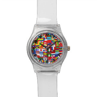 Colorful Red Green Blue World Flags Watches