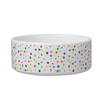 Colorful Red Green Blue Yellow Polka Dots Pet Bowl
