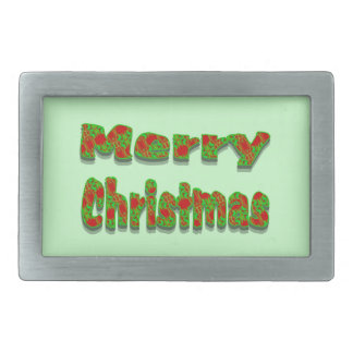Colorful Red Green Merry Christmas Belt Buckle