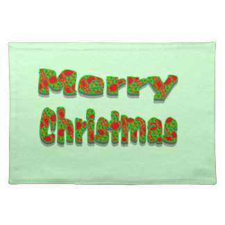 Colorful Red Green Merry Christmas Placemat