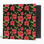 Colorful Red Hibiscus Blooms on Black Vinyl Binder