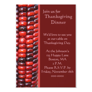Colorful Red Indian Corn Thanksgiving Card