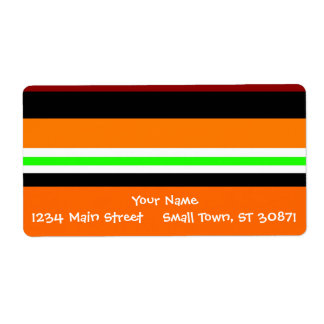 Colorful Red Orange Green Black Striped Pattern Label