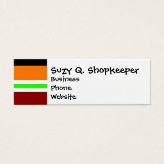 Colorful Red Orange Green Black Striped Pattern Mini Business Card