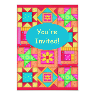 Colorful Red Orange Pink Patchwork Quilt Block Art 5x7 Paper Invitation Card