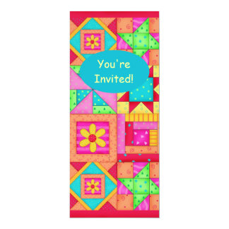 Colorful Red Orange Pink Patchwork Quilt Block Art 4x9.25 Paper Invitation Card