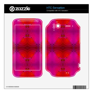 colorful red pink abstract decal for HTC sensation