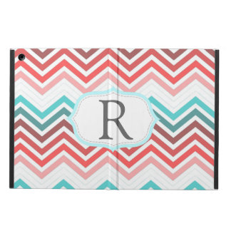 Colorful red, pink, blue, teal chevron zigzag iPad air case