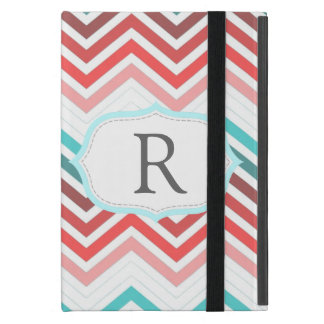 Colorful red, pink, blue, teal chevron zigzag iPad mini case