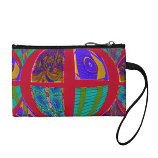 Colorful red pop art abstract change purse