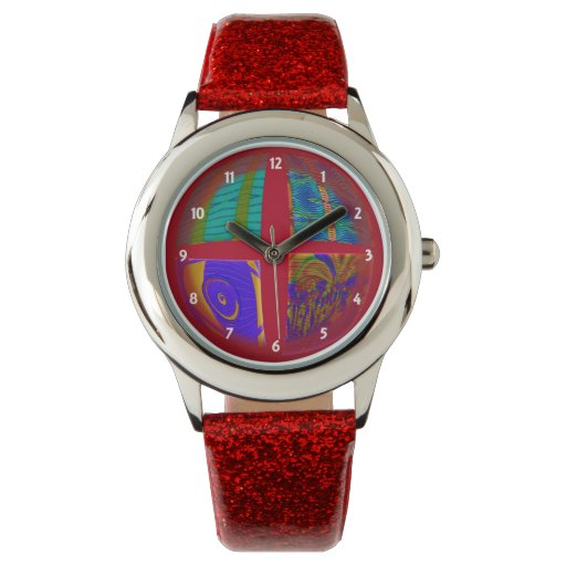 Colorful red pop art abstract watch