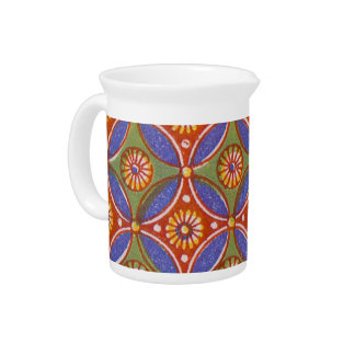Colorful Red Rustic Circle Pattern Geometric Beverage Pitcher