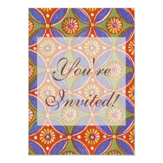 Colorful Red Rustic Circle Pattern Geometric Card