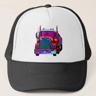 Colorful Red Semi Truck Trucker Hat
