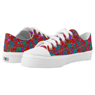 Colorful Red Teal pattern Design Low-Top Sneakers