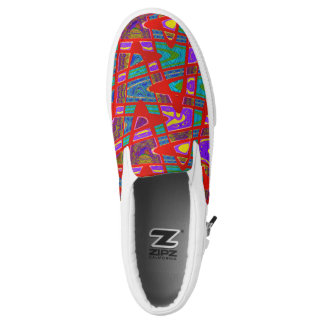 Colorful Red Teal pattern Design Slip-On Sneakers