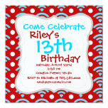 """Colorful Red Teal Turquoise Rainbows Arches Dots 5.25"""" Square Invitation Card"""