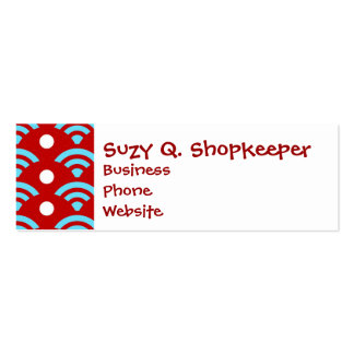 Colorful Red Teal Turquoise Rainbows Arches Dots Mini Business Card