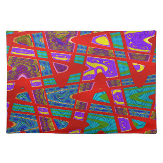 colorful red turquoise abstract placemat