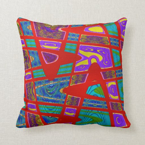 colorful red turquoise abstract throw pillow