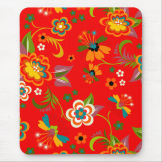Colorful Red Vintage Floral Vector Mouse Pad