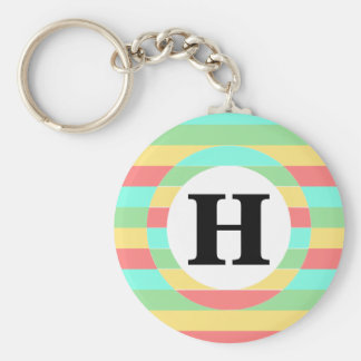 Colorful Red Yellow Green Blue Striped Monogram Basic Round Button Key Ring