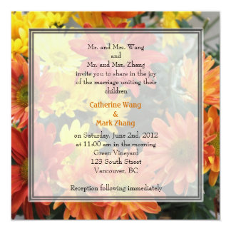 Colorful red, yellow, orange daisy flowers wedding card