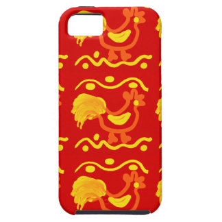 Colorful Red Yellow Orange Rooster Chicken Design iPhone 5 Cases
