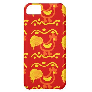 Colorful Red Yellow Orange Rooster Chicken Design iPhone 5C Case