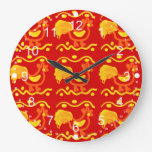 Colorful Red Yellow Orange Rooster Chicken Design Clock