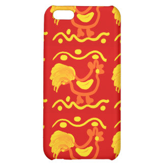 Colorful Red Yellow Orange Rooster Chicken Design iPhone 5C Covers