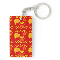 Colorful Red Yellow Orange Rooster Chicken Design Keychain