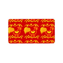 Colorful Red Yellow Orange Rooster Chicken Design Label