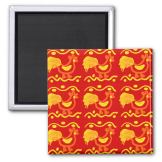 Colorful Red Yellow Orange Rooster Chicken Design Fridge Magnets