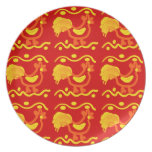 Colorful Red Yellow Orange Rooster Chicken Design Melamine Plate