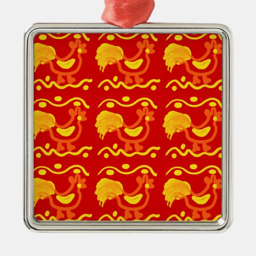 Colorful Red Yellow Orange Rooster Chicken Design Christmas Ornaments