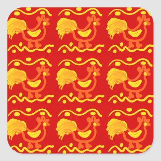 Colorful Red Yellow Orange Rooster Chicken Design Square Sticker