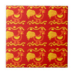 Colorful Red Yellow Orange Rooster Chicken Design Tiles