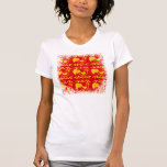 Colorful Red Yellow Orange Rooster Chicken Design Tee Shirt