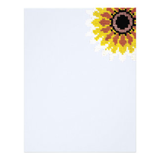 Colorful Red Yellow Sunflower Embroider Blue Letterhead