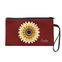 Colorful Red Yellow White Sunflower Embroider Look Wristlet  Clutch at Zazzle