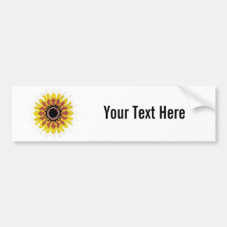 Colorful Red Yellow White Sunflower Embroider Look Bumper Stickers