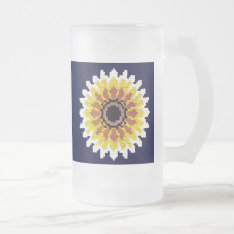 Colorful Red Yellow White Sunflower Embroider Look Frosted Glass Beer Mug at Zazzle