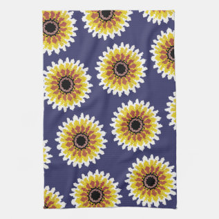 Colorful Red Yellow White Sunflower Embroider Look Kitchen Towel at Zazzle